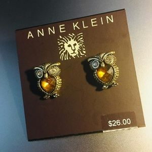 Anne Klein Earrings GT Topaz Colored Owl Button 🦉